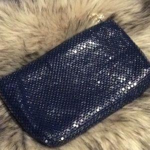 Vintage Navy blue mesh clutch